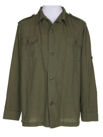 80s Military Green Long Sleeved Shirt – XL