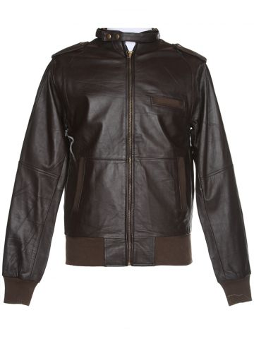 Brown Leather Bomber Jacket - XS
