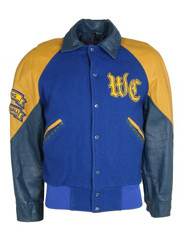 1980s Blue and Yellow Wool Varisty Jacket with Leather Sleeves - S