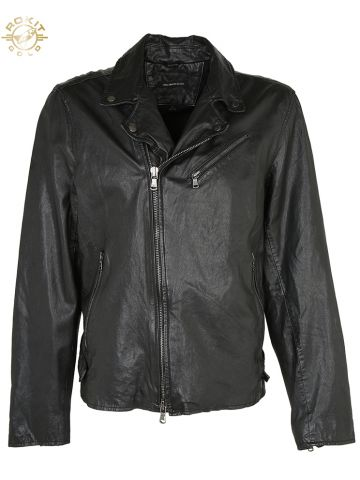 John Varvatos Black Leather Biker Jacket - L