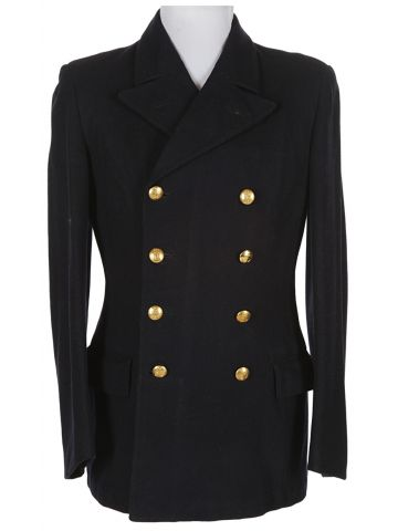Vintage 1940s Navy Military Army Bridge Pea Coat - M