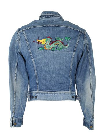 70s Lee Riders Sanforized Jean Jacket with Embroidered Dragon - M