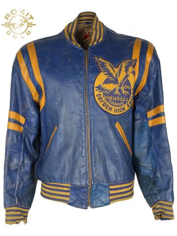 Vintage 60s Leather Letterman Varsity Jacket - L