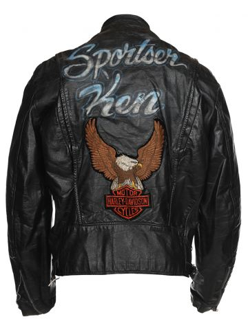 Vintage 60s Brooks Customised Leather Biker Jacket Harley Davidson - L