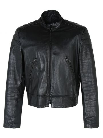 80's Falcon Leather Cafe Racer Style Biker Jacket - L