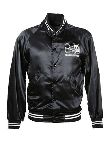 80s Black Prairie Fire Band Baseball Jacket - S