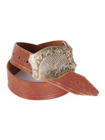 Cloverdale Brown Tooled Leather Rodeo Western Belt