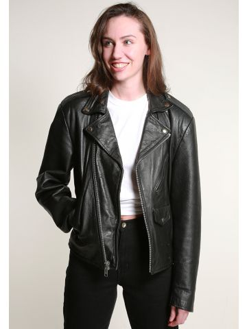 Vintage 70s Leather Biker Jacket - M