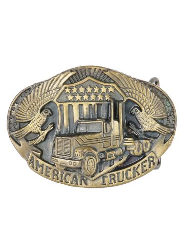 American Trucker Bronze Tone Metal Belt Buckle
