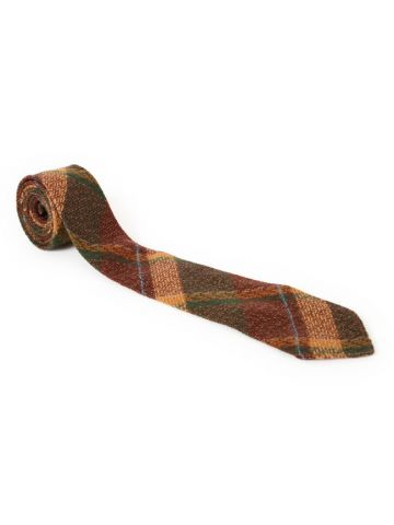 70s Brown Checked Wool Tie