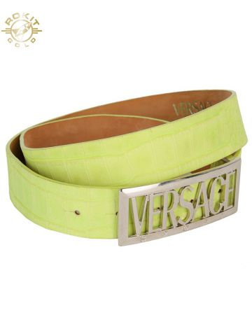 Versace Sport Green Snake Print Leather Belt - W35-39
