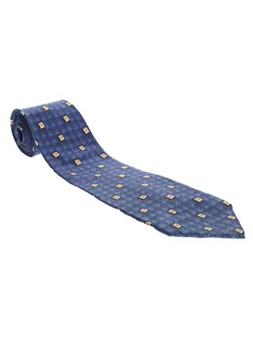 Christian Dior Blue Patterned Silk Tie