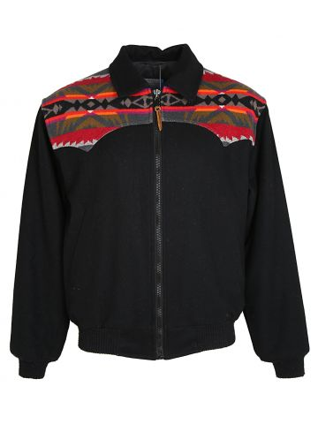1980S Black Pendleton Wool Bomber with Southwestern Design  - M