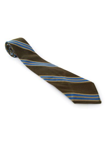 60s Brooks Brothers Khaki Green & Blue Stripe Silk Tie
